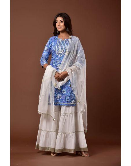 KISWAH CLOTHING Neela Nusrat Garara Set