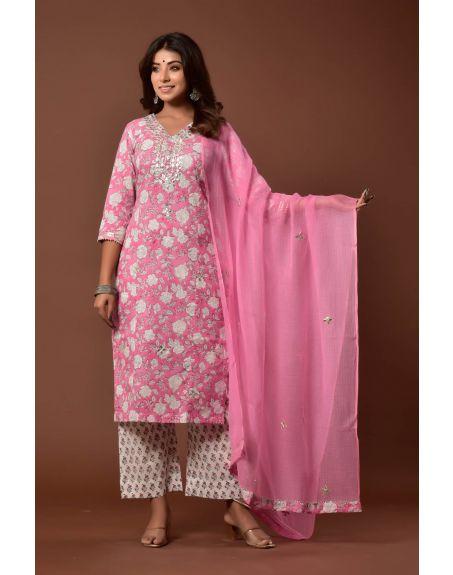 KISWAH CLOTHING Ashmeet - Gulabi Gota Set