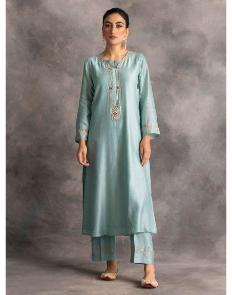 ANANTAA Blue Silk chanderi kurta with hand embroidery