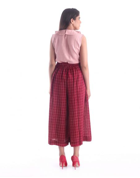 3X9T Sustainable Kala Cotton Red Cullottes Pants