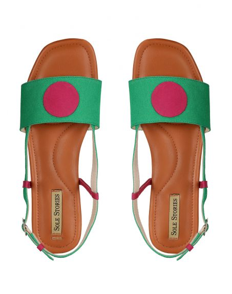 SOLE STORIES Bindi Backstraps Green Fuschia