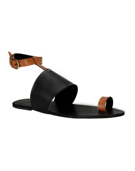 SOLE STORIES Two Toned Flats-Black Tan