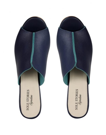 SOLE STORIES Two Toned Mules-Blue
