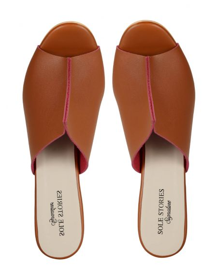 SOLE STORIES Two Toned Mules-Tan