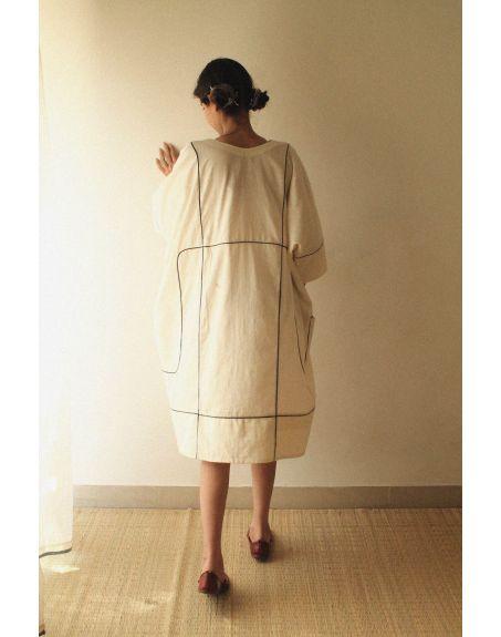 KILCHU INDIA Loose Fit Grid Kaftan Dress