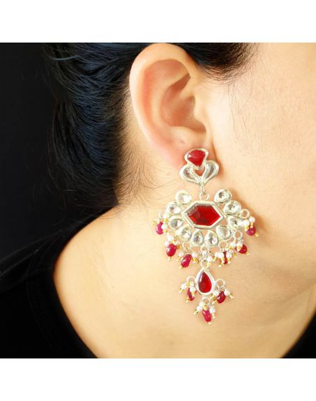 JAIPRI Red Stone Kundan Earrings