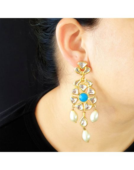 JAIPRI Turquoise Stone Kundan Earrings