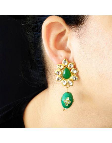 JAIPRI Green Kundan Earrings