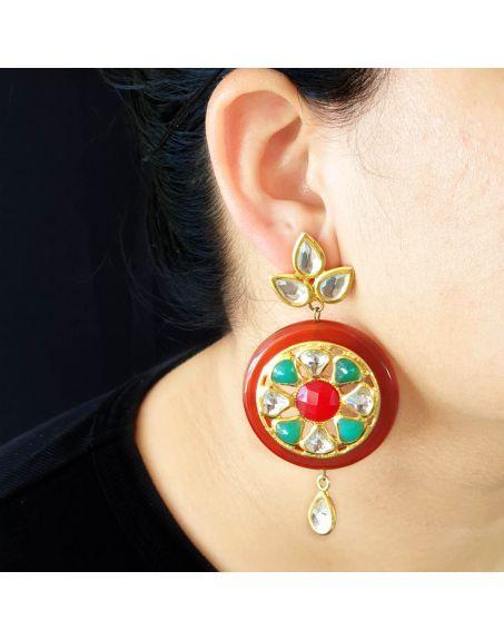 JAIPRI Multicolor Kundan Earrings