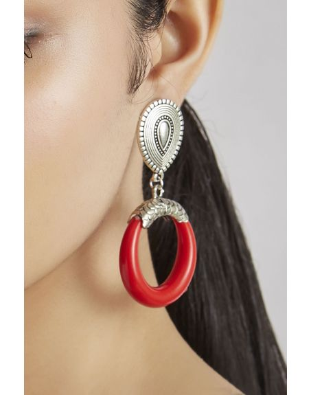 JAIPRI Red Oxidised Silver Earrings