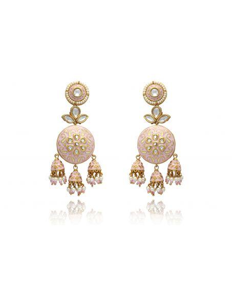 TIZORA Pink Enamelled Earrings