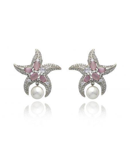 TIZORA Faux Diamond Starfish Earrings