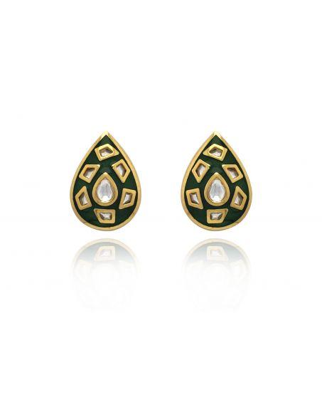 TIZORA Green Enamelled Ear Tops