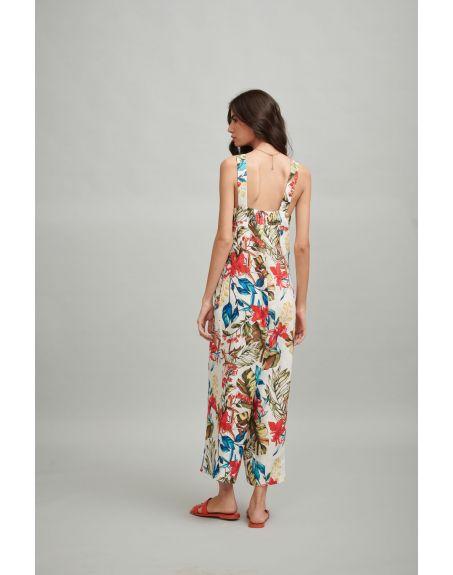 DASH AND DOT Tropical Print Linen Jumpsuit