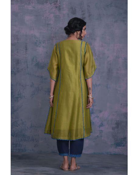 CHARKHEE Berry Green Tie-Up Kurta With Side Pleated Salwar - Set Of 2