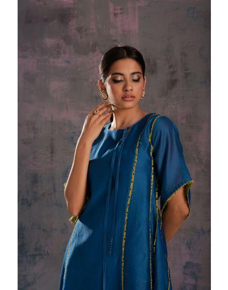 CHARKHEE Egyptian Blue Tie-Up Kurta With Side Pleated Salwar - Set Of 2