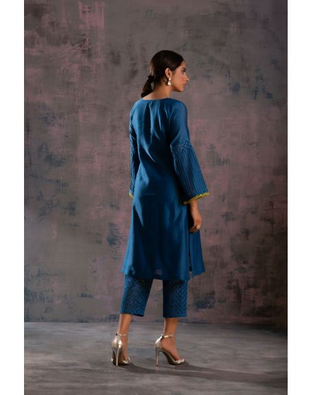 CHARKHEE Egyptian Blue Flared Sleeves Kurta With Blue Pant & Green Dupatta - Set Of 3