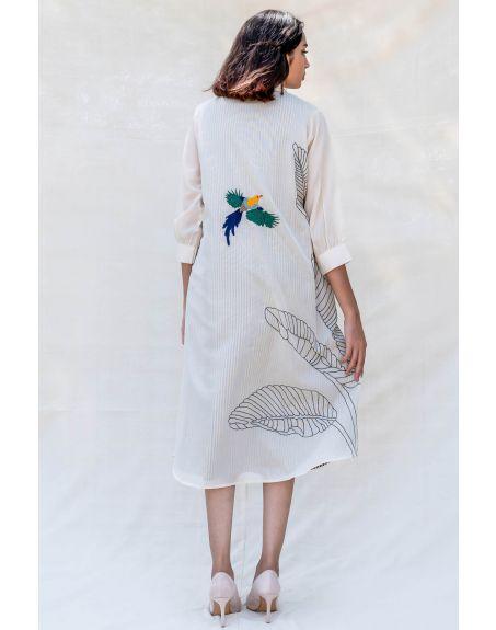 PURVI DOSHI Off-white V-Neck Shirt Dress