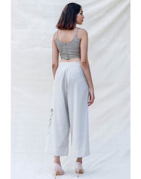 PURVI DOSHI Off-white and Grey Stripe Cropped Culottes