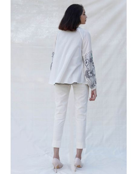 PURVI DOSHI Off-white Collar Shirt with Balloon Sleeves