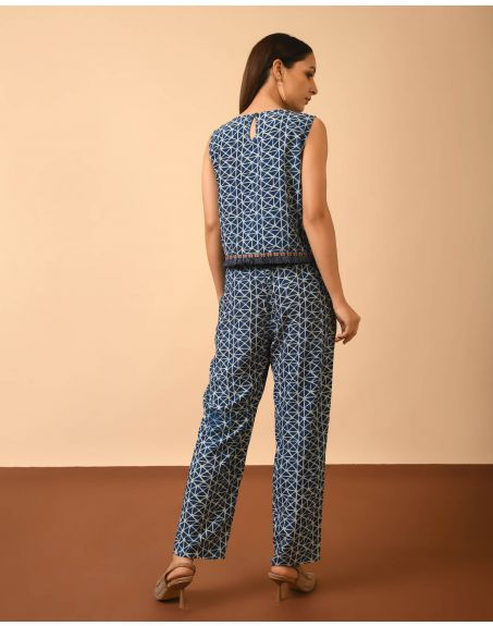 GRASS & SUNSHINE Indigo Dye, Dabu Print Co-Ord Set