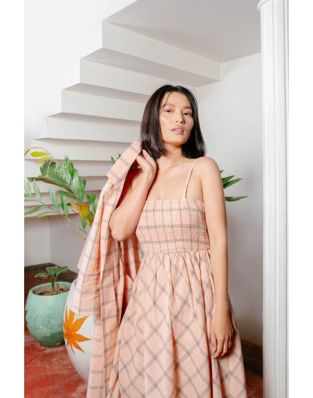 HOUSE OF FETT Peach Strappy Dress With Jacket