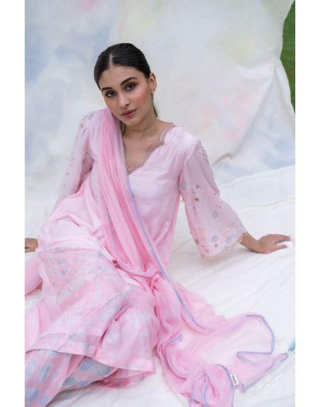 LABEL NIMBUS Pink Silk A-Line Kurta Set.