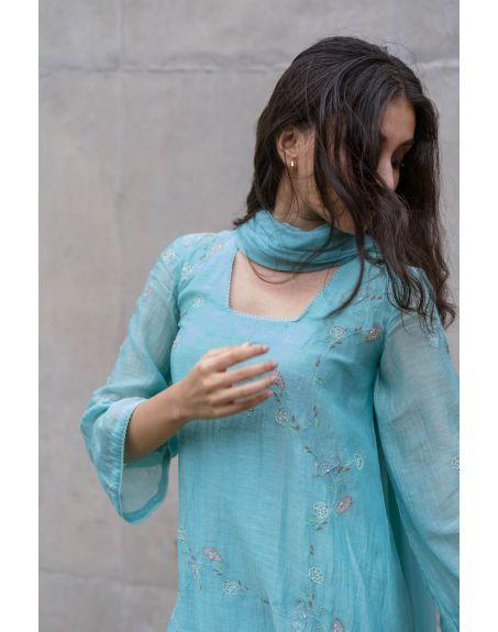LABEL NIMBUS Turquoise Chanderi A-Line Kurta Set.