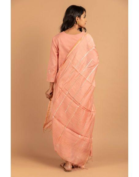 KAMALTAAS Rose Pink Cotton Slub Embroidered Dupatta