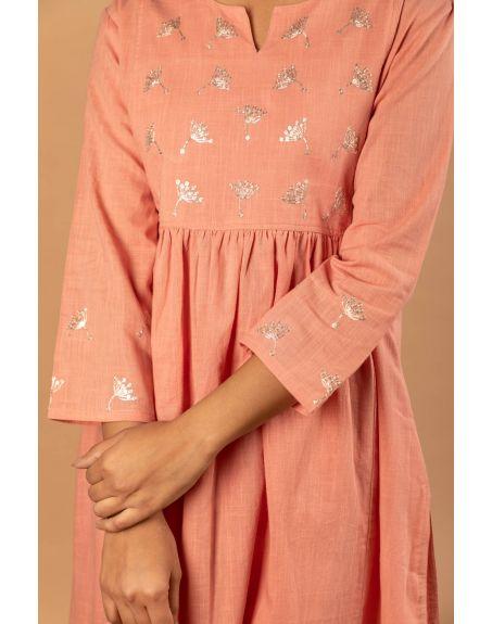 KAMALTAAS Rose Pink Cotton Slub Embroidered Kurta With Pant