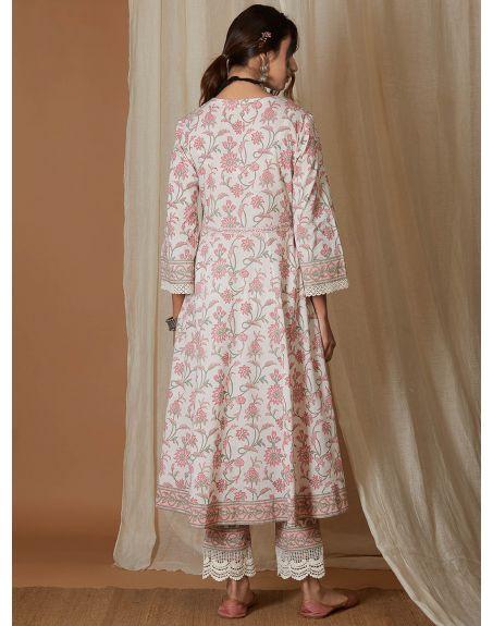 VRAJ White Pink Hand Block Printed Cotton Kalidar Kurta with Pants- Set of 2