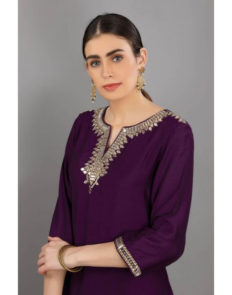ASAGA Purple Embroidered Chanderi Silk Kurta With Mull Embroidered Pants Paired with Organza Embroidered Dupatta