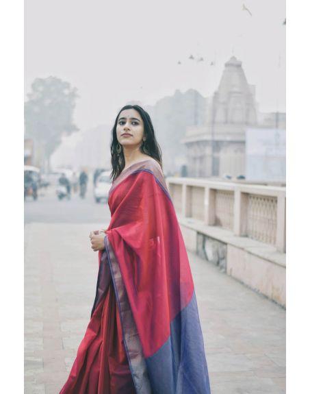 KAISORI Seher Maheswari Silk cotton saree wine
