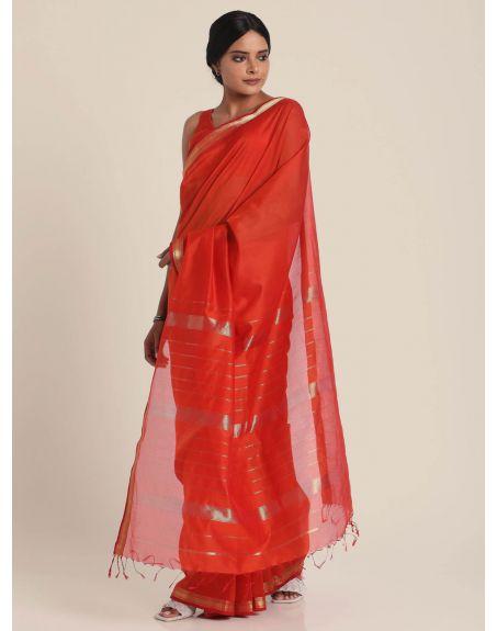 SUTA Red Maheshwari Silk Saree