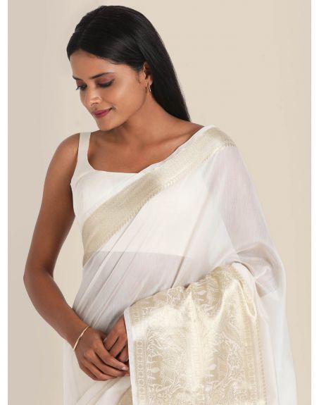 SUTA White Silk Woven Design Banarasi Saree