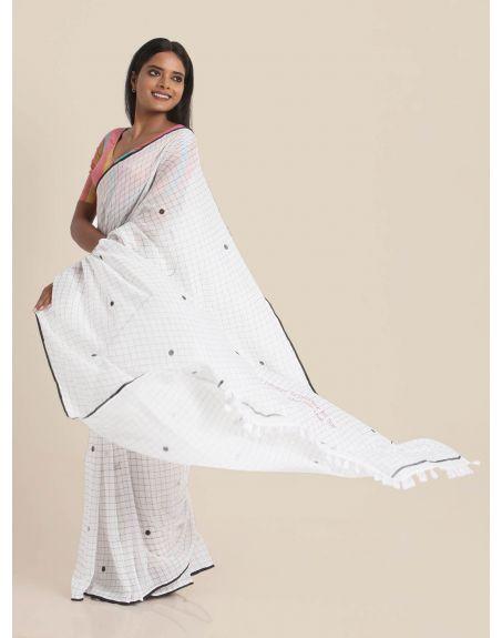 SUTA White Checks And Polka Typographic Printed Pure Cotton Saree