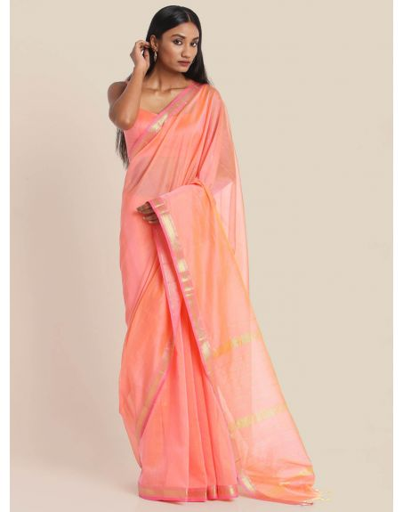 SUTA Peach And Pink Maheshwari Silk Saree