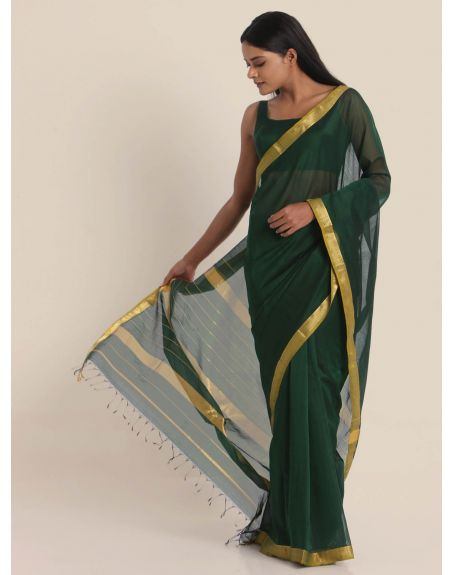 SUTA Green & Gold-Toned Zari Silk Blend Maheshwari Saree