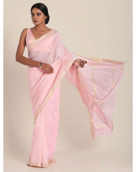 SUTA Pink And Golden Maheshwari Silk Saree