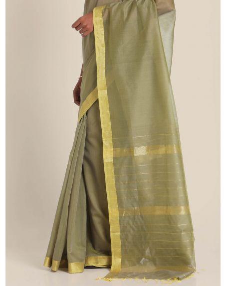 SUTA Green & Gold-Toned Silk Blend Saree
