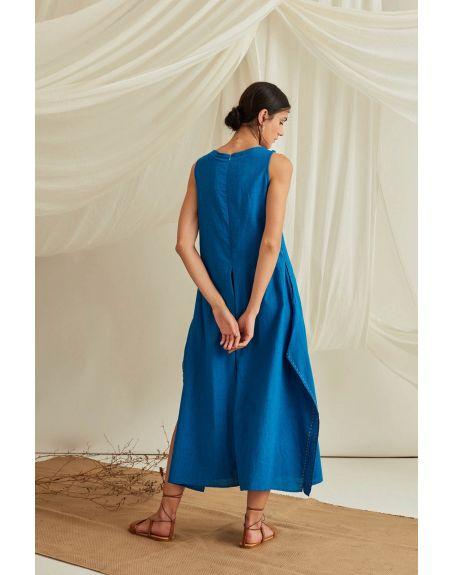 BLUE HOUR Box Pleat Side Slit Jumpsuit-Cobalt Blue