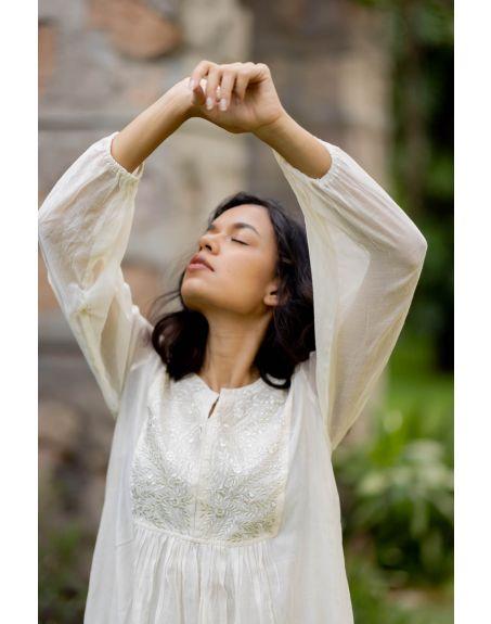 SILAAI BY NIRJA & PAUNAMI Off White Chanderi Embroidered Dress
