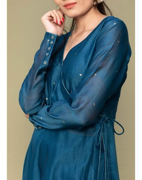 VINUSTO Teal Blue Anarkali Chanderi Handloom Kurta Set (Set Of 3)