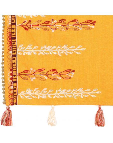 MESMORA Earthy Grassroot Khadi Yellow Embroidered Scarf