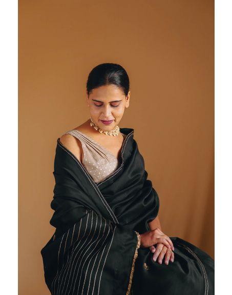 DEETA Raina Handcrafted Classic Black Silk Cotton Sari