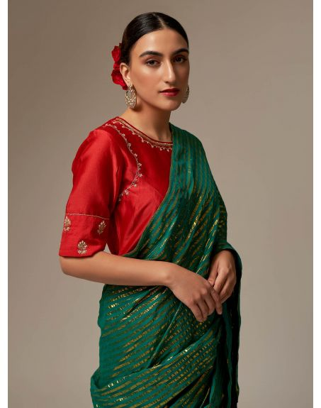 ANANTAA Red Silk Chanderi blouse with hand embroidery