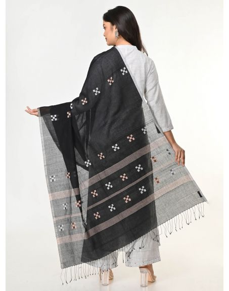 ARTEASTRI Black Handloom Cotton Jamdani Dupatta