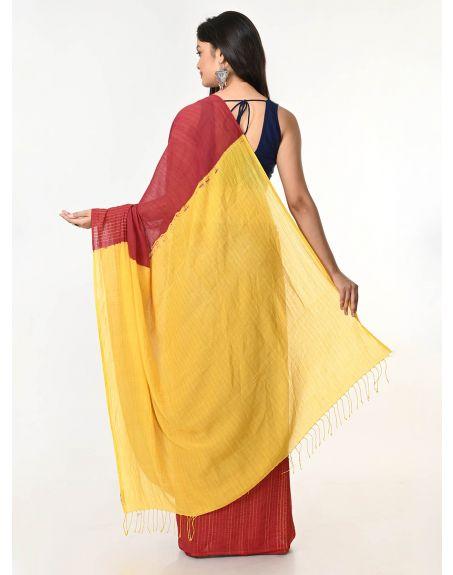 ARTEASTRI Rust Yellow Handloom Cotton Woven Shibori Saree