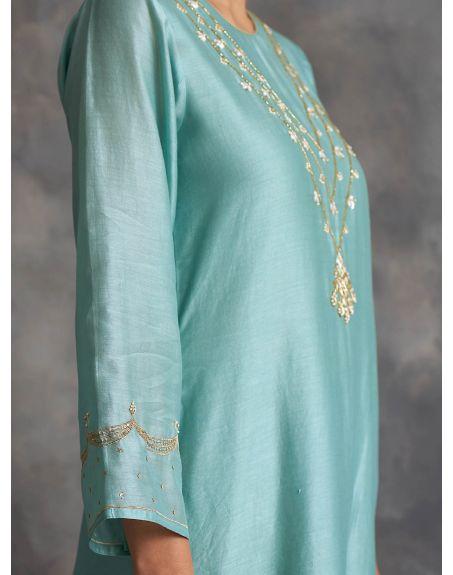 ANANTAA Blue Silk chanderi kurta in hand embroidery