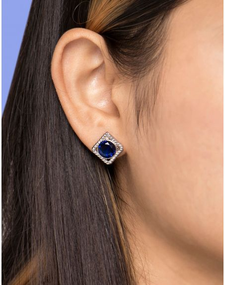 MIKOTO Blue Crystal Twisted Wire Studs